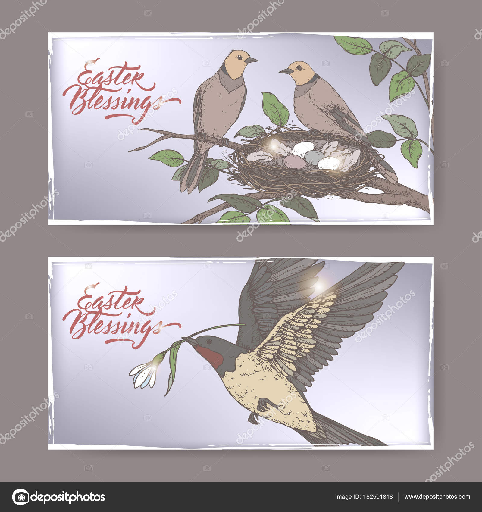 2 Easter Color Greeting Cards With Swallow Birds And Nest With Eggs