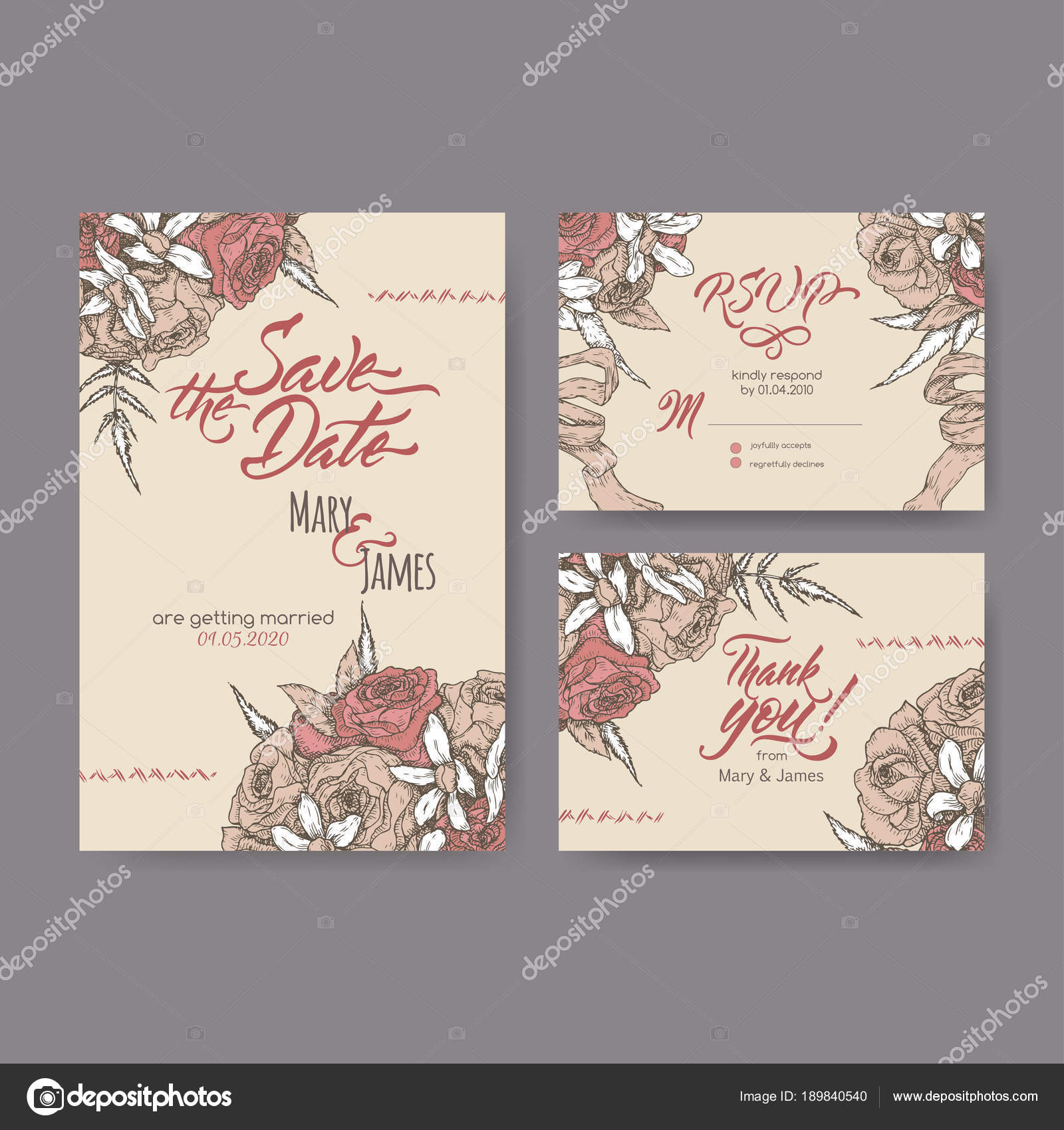 Set of three original attractive wedding cards based on bouquet ...