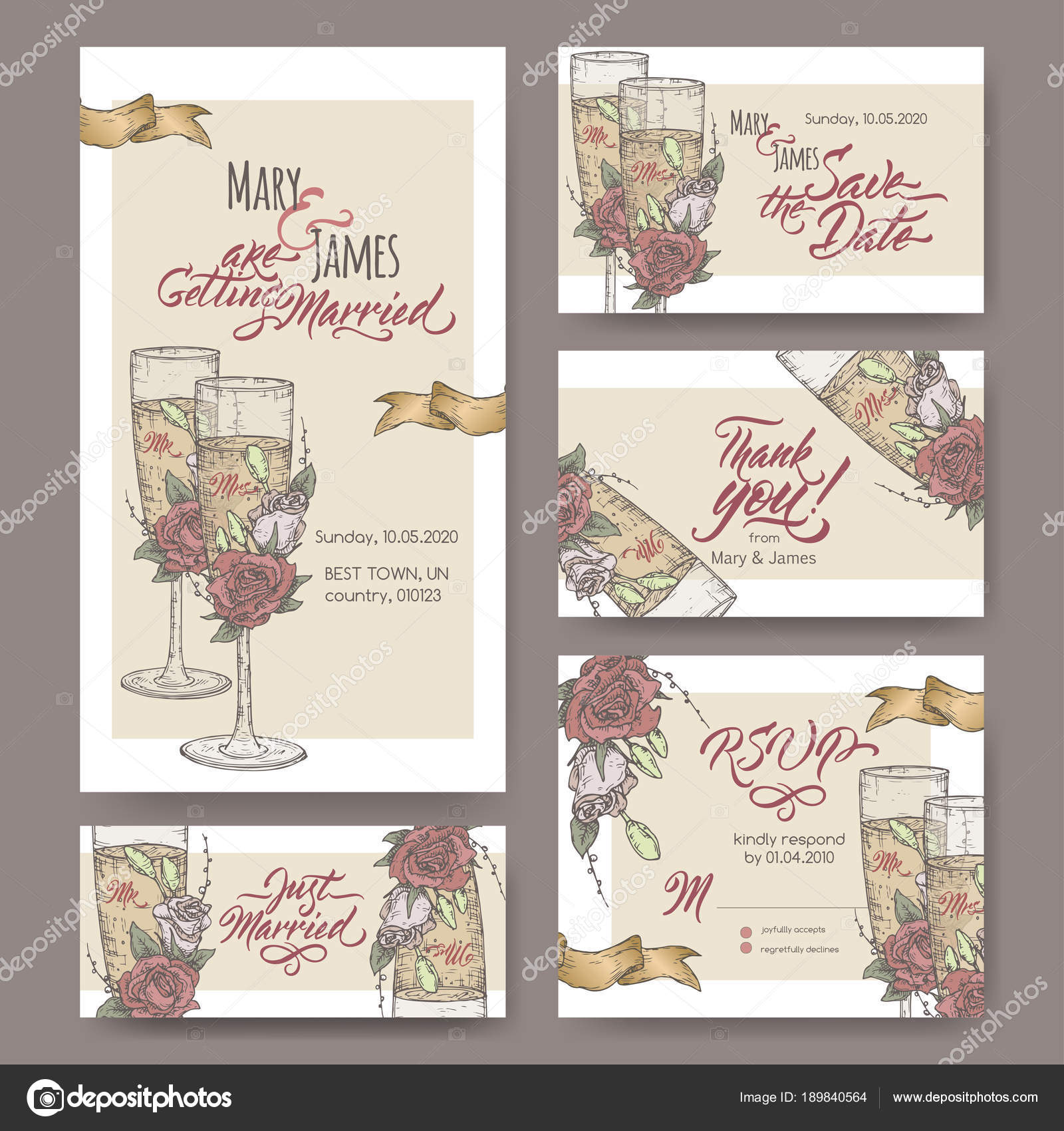 Set of five original attractive wedding cards based on wine glass ...