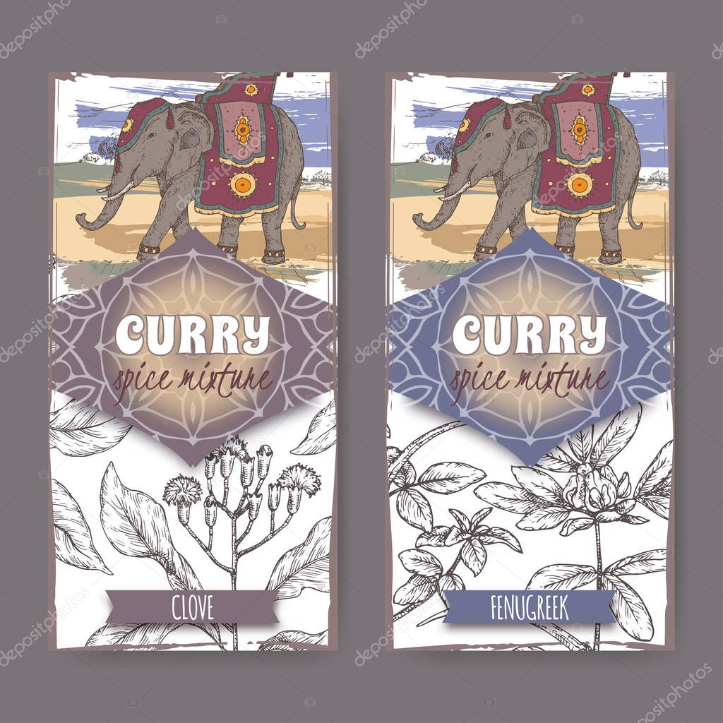 Set of two labels with clove, fenugreek and Indian elephant hand drawn color sketch.