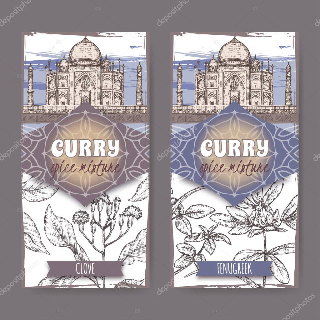 Set of two labels with clove, fenugreek and Taj Mahal hand drawn color sketch.