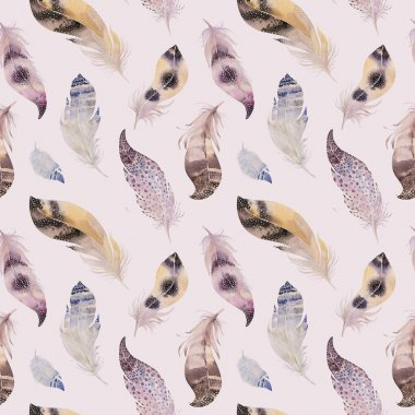 Watercolor natural birds feathers boho pattern. Bohemian Seamles