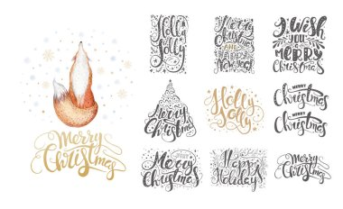 Merry christmas lettering over with snowflakes and foxes. Hand d
