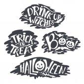 Boldog Halloween kalligráfia háttérrel. Vector-banner jelei. betűkkel holiday hignt. Sziluettjét horror szöveg denevér. Holdfény fa. Fogás vagy élvezet, boo, boszorkányok