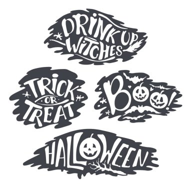 Happy Halloween Calligraphy backgrounds. Vector  banner signs.  lettering holiday hignt. Bat silhouette horror text. moonlight tree. Trick or Treat ,boo, witches