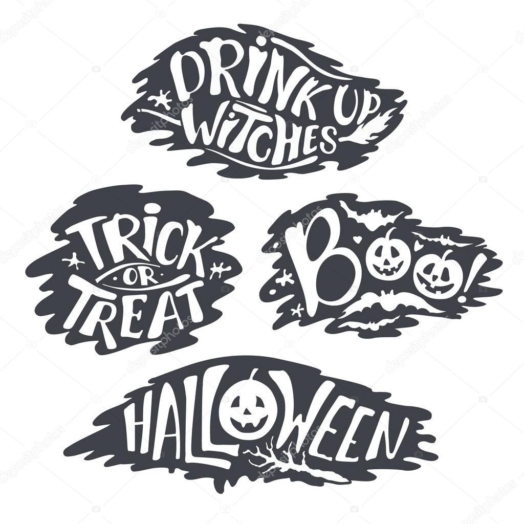 Happy Halloween Calligraphy backgrounds. Vector Halloween banner signs. Halloween lettering holiday hignt. Bat silhouette horror text. moonlight tree. Trick or Treat ,boo, witches