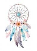 Fényképek Elszigetelt akvarell dekoráció bohém Álomfogó. Boho feath