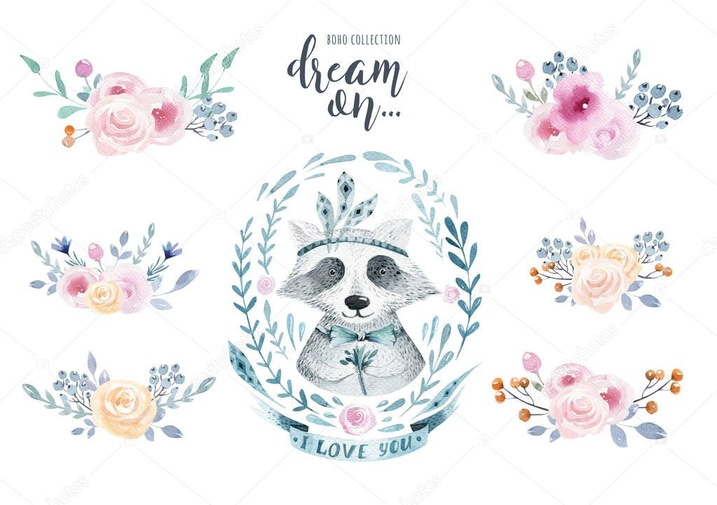 Set of watercolor boho floral bouquets with raccoon. Watercolour