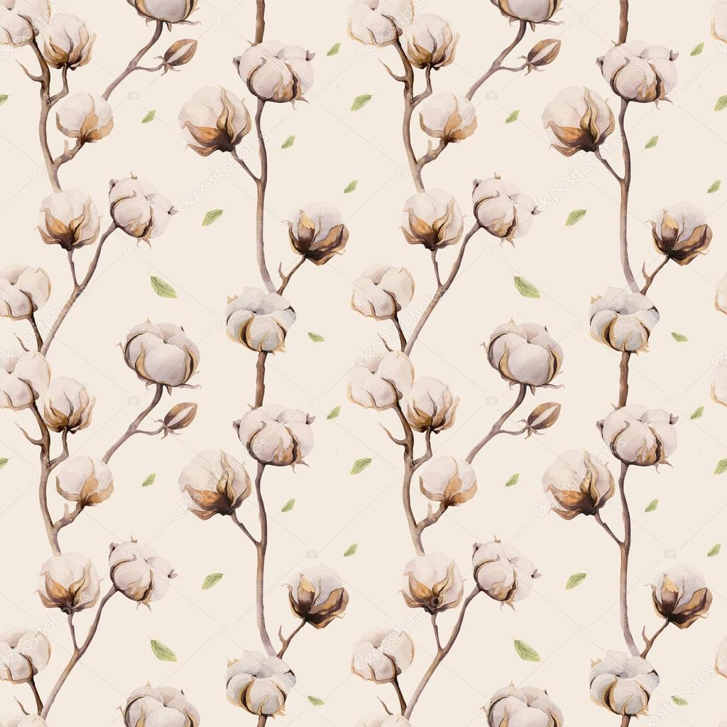 Watercolor vintage background with twigs and cotton flowers boho