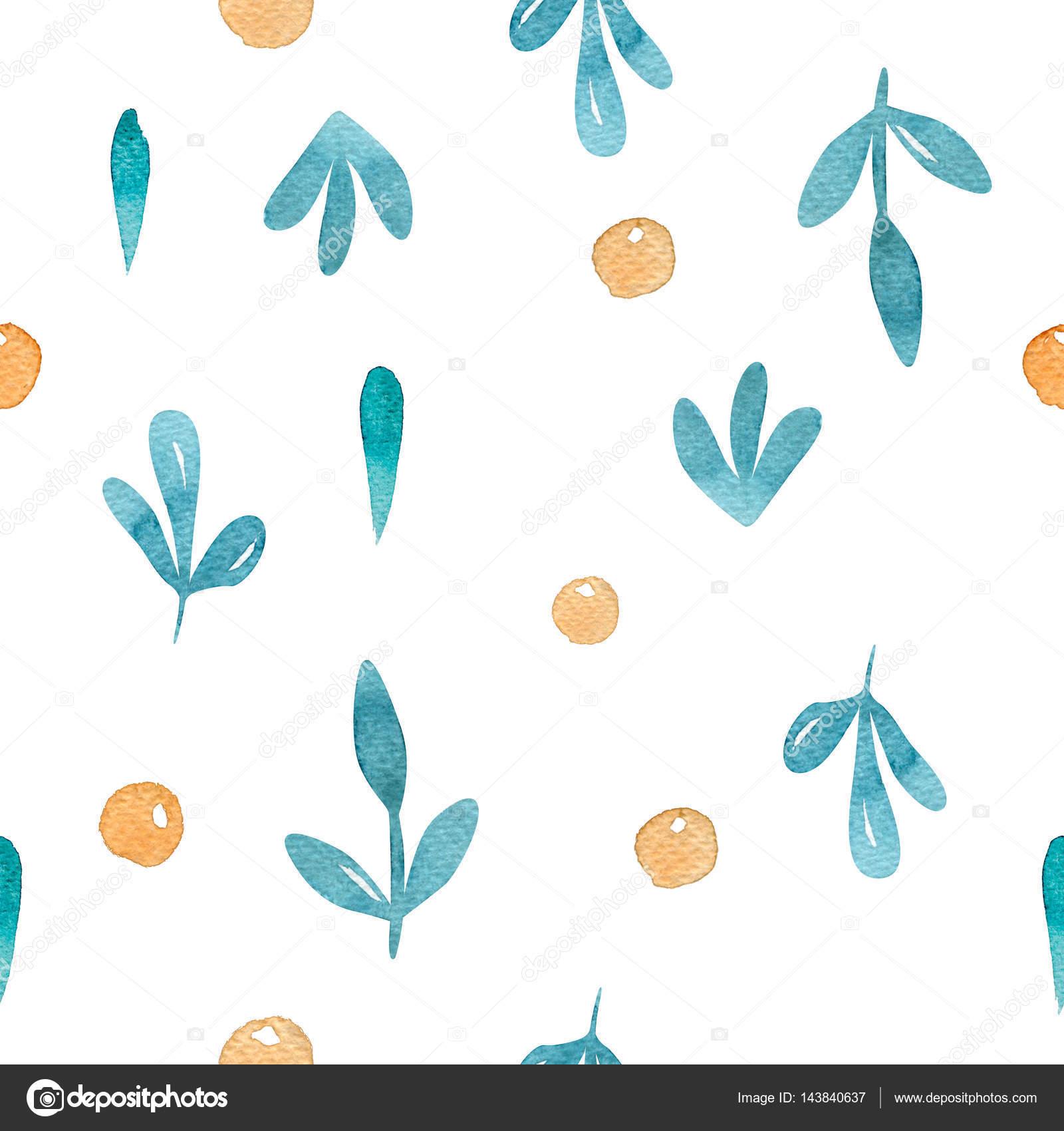 Acuarela de patrones sin fisuras con elementos florales y punto ...