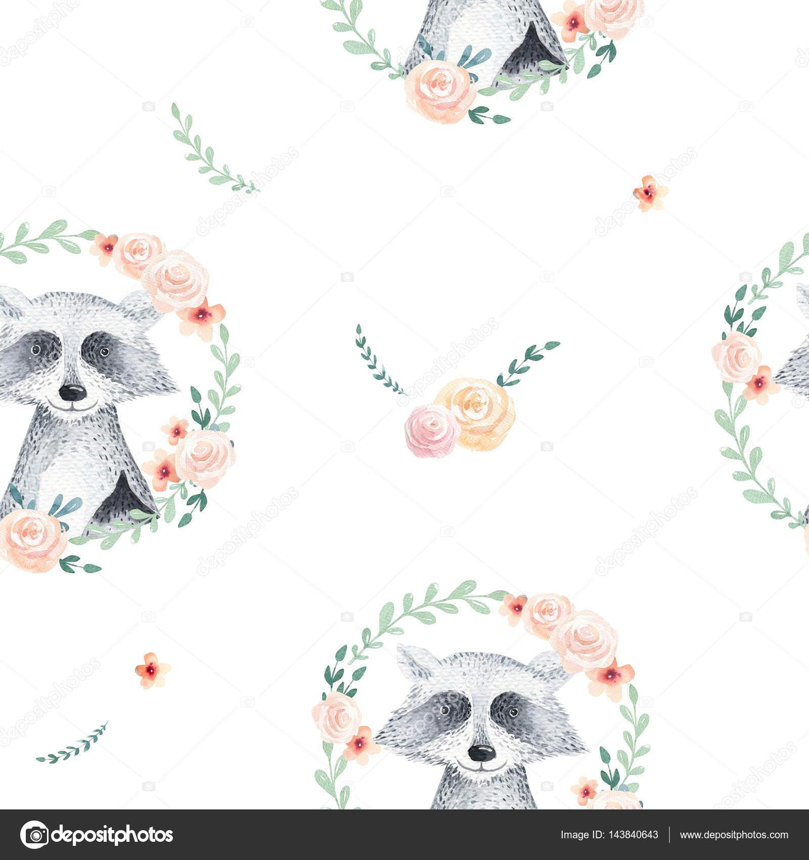 Patrón floral de boho acuarela con mapache. ba natural bohemio ...