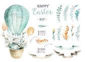 Fényképek Kézzel rajzolt akvarell Boldog húsvéti nyuszik tervez készlet. Rabb