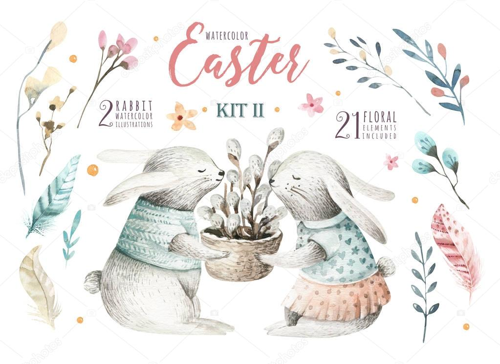Hand drawing easter watercolor cartoon bunnies with leaves, bran