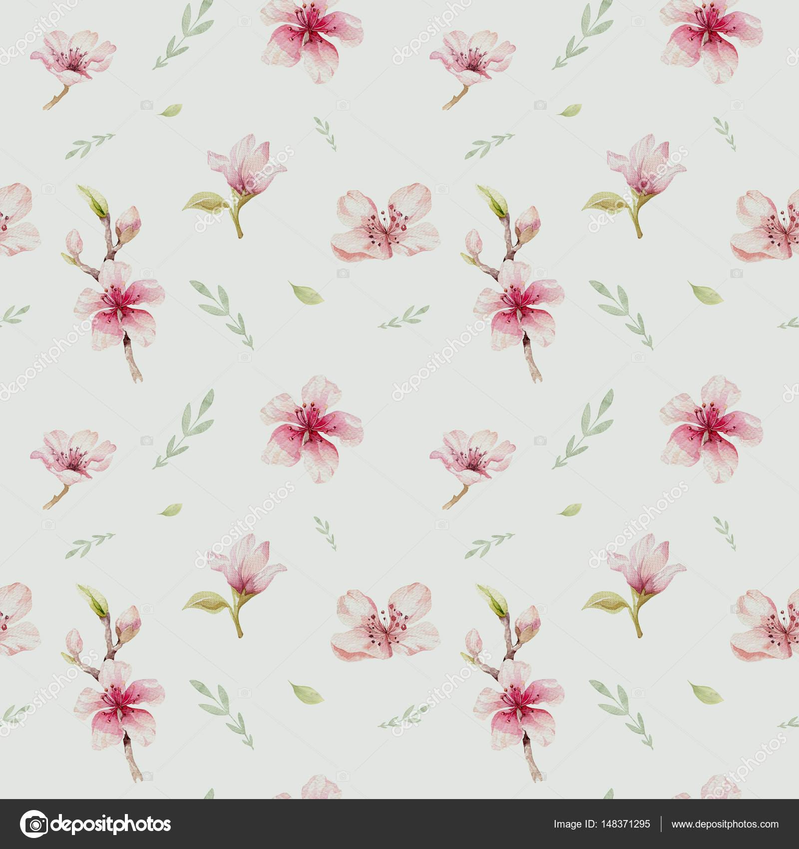 Papel De Parede Com Flores De Cereja Flor Stock Photo Mykef  -> Modelos De Papel De Parede Em Forma De Flores