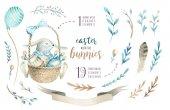 Fényképek Kézzel rajzolt akvarell Boldog húsvéti készlet