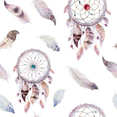 Dreamcatchers and feathers pattern