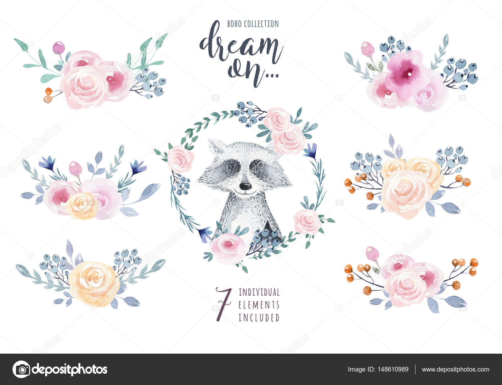 Boho Floral Pattern With Raccoons Stock Photo
