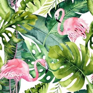 green leaves with flamingo