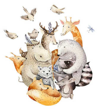 Cute family.  baby fox, deer animal nursery cat, giraffe, squirrel, and bear isolated illustration. Watercolor boho raccon drawing, watercolour, hippopotamus image Perfect for nursery posters, patterns stock vector