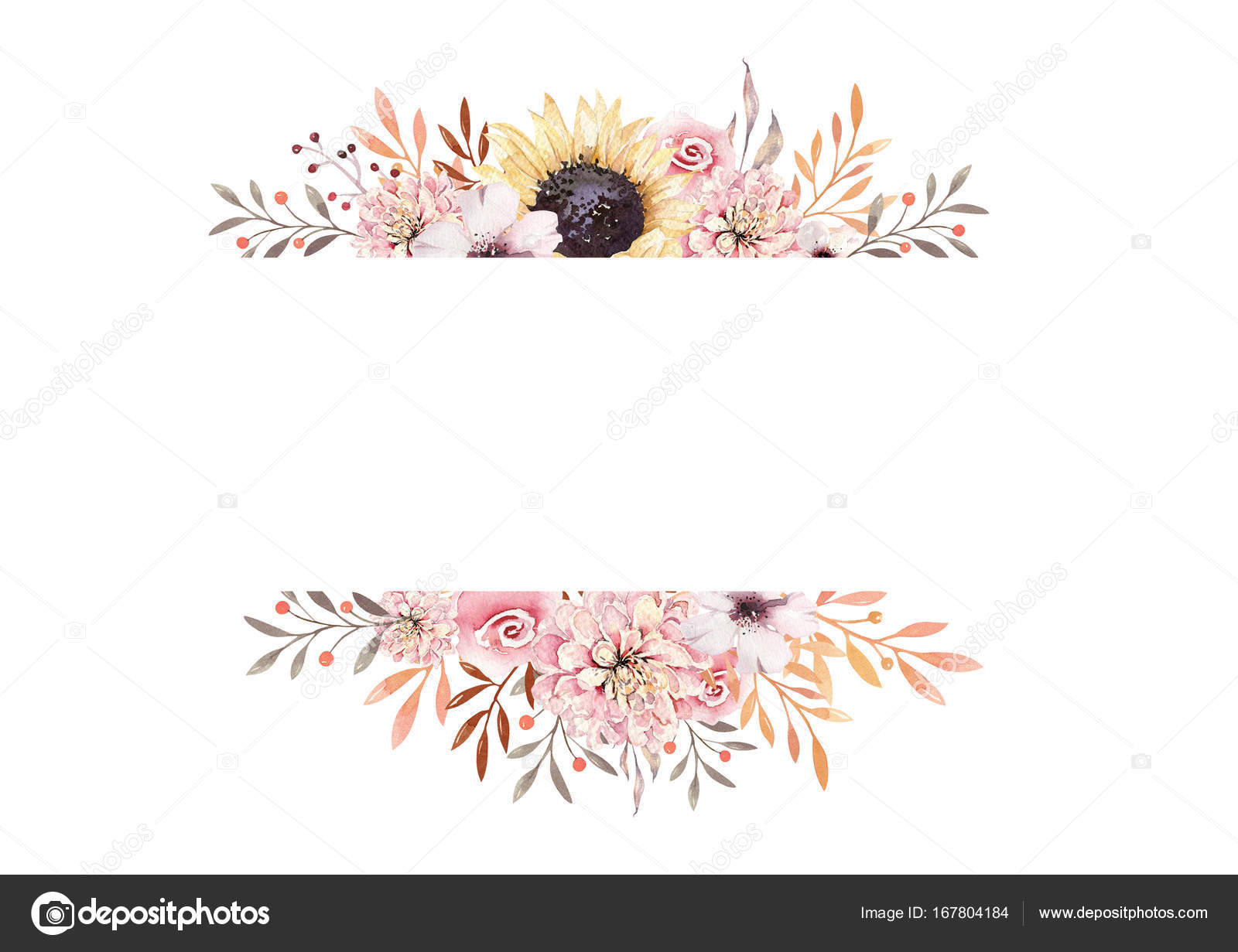 Set Of Watercolor Boho Floral Bouquets Watercolour Bohemian Natural Frame Leaves Feathers Flowers Isolated On White Background