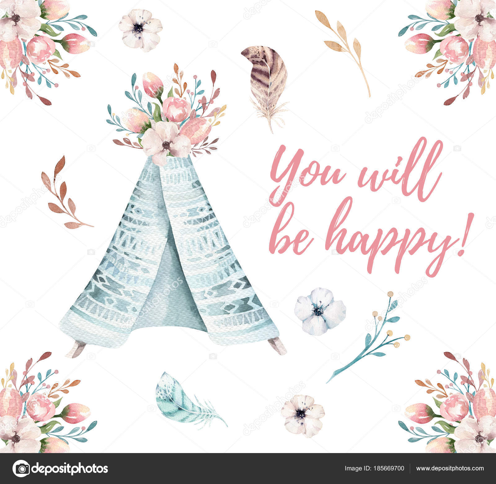 Watercolor Invitation Card With Teepee Bohemian Postert Emplate
