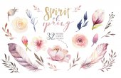 Fotografie Boho flower set. Colorful floral collection with leaves and flowers, drawing watercolor. Spring or summer bouquet design for invitation, wedding or greeting bohemian card