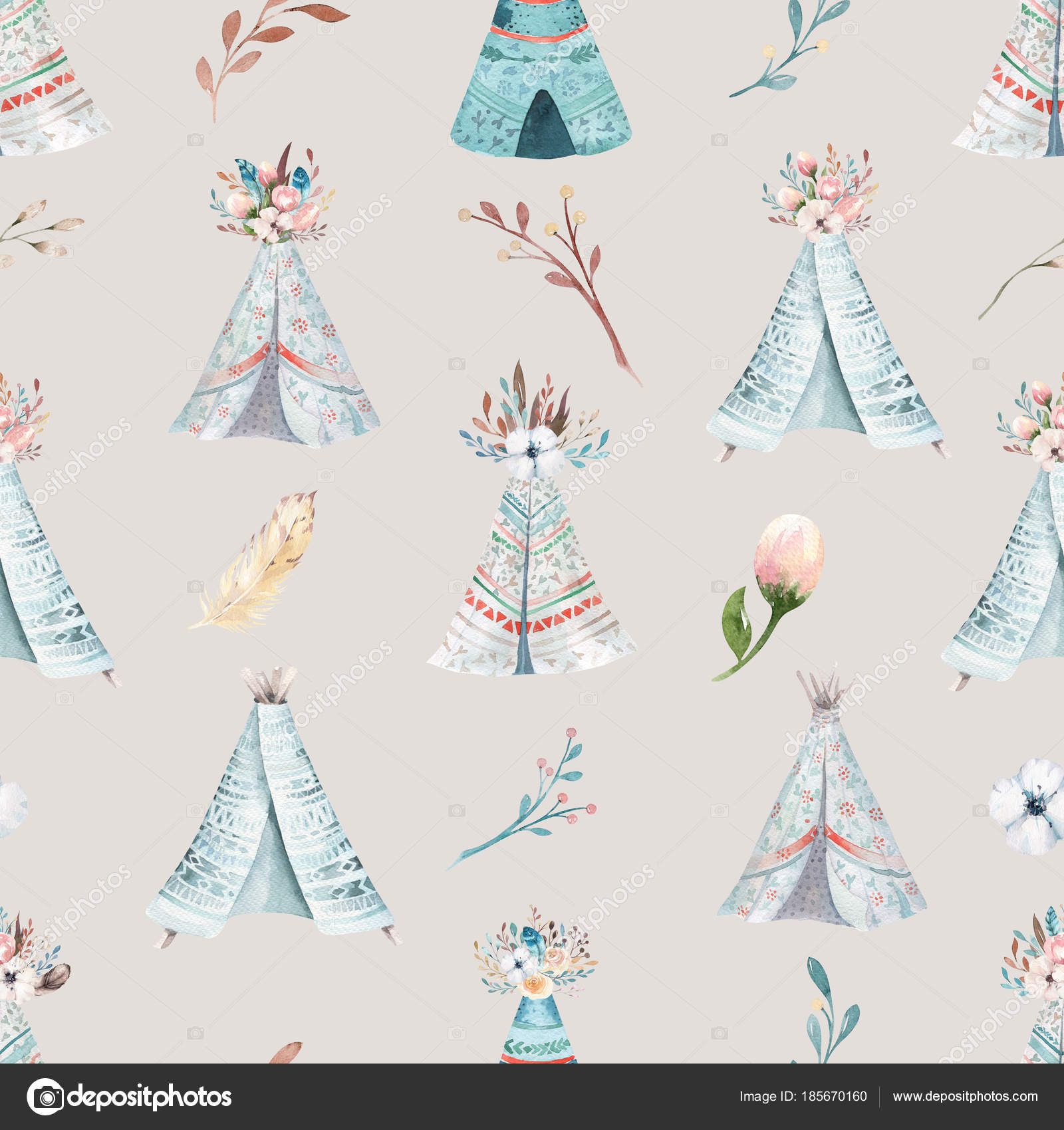 Seamless Boho Watercolor Wallpaper With Blossom Flowers And Leaves Spring Nature Illustration Vintage Design