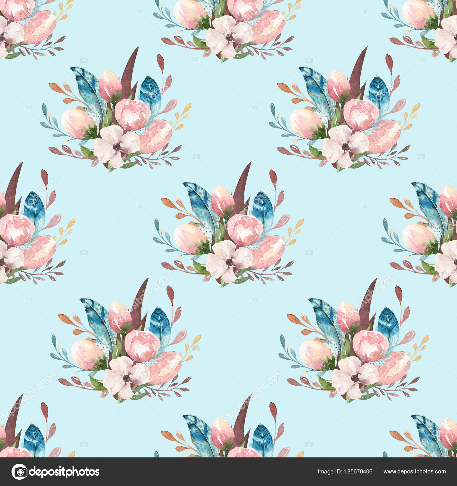 Seamless Boho Watercolor Wallpaper With Blossom Flowers And Leaves