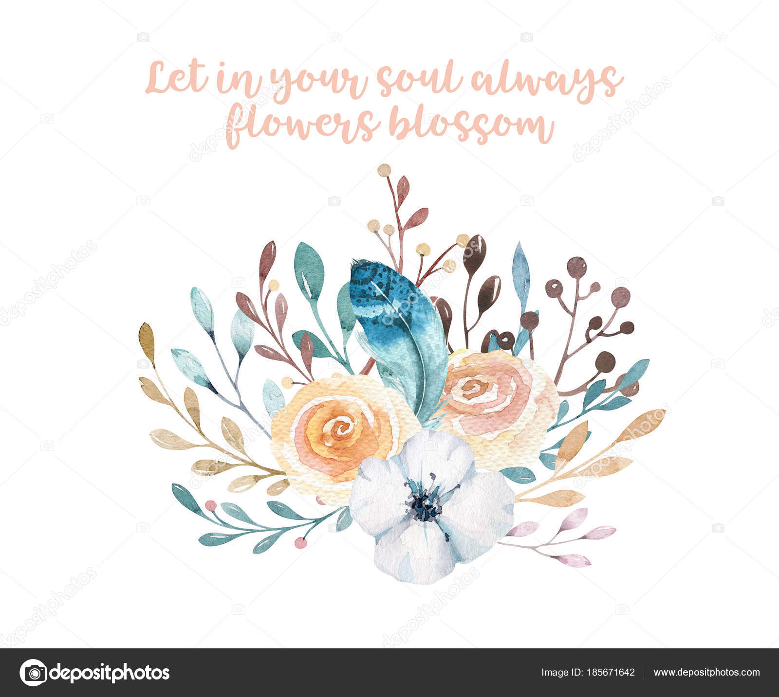 Watercolor Boho Floral Illustration Bohemian Spring Flower Bouquets