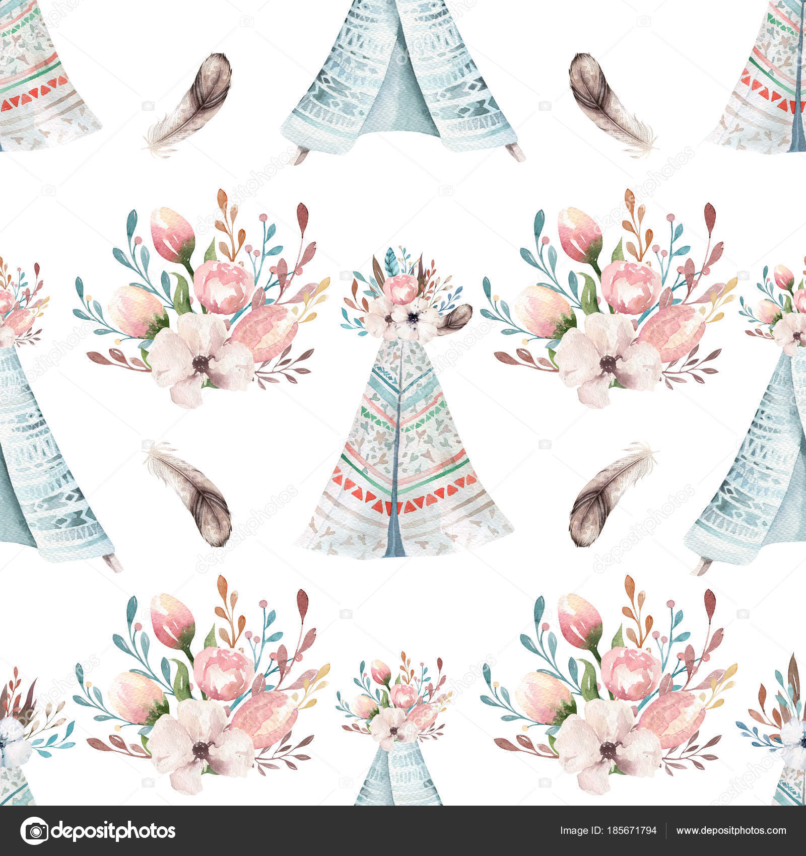 Seamless Boho Watercolor Wallpaper With Blossom Flowers And