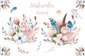 Květinový akvarel boho ilustrace. České jarní květ kytice, věnce, opatření pro svatby, výročí, narozeniny, pozvánky, pozdravy, karty