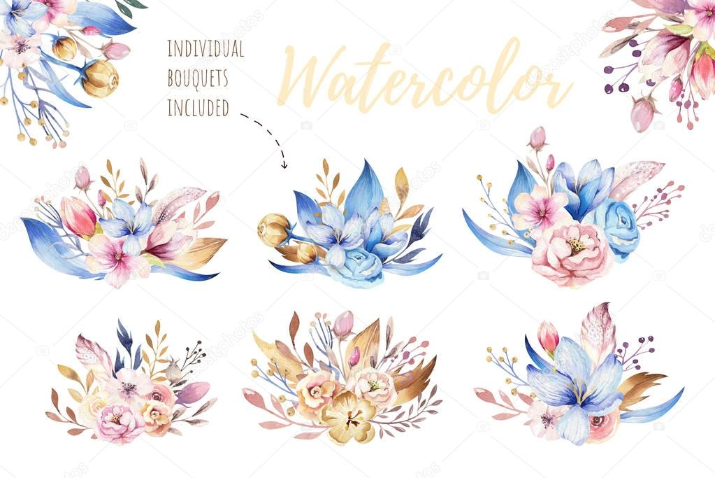 Boho flower set. Colorful floral collection with leaves and flowers, drawing watercolor. Spring or summer bouquet design for invitation, wedding or greeting bohemian card
