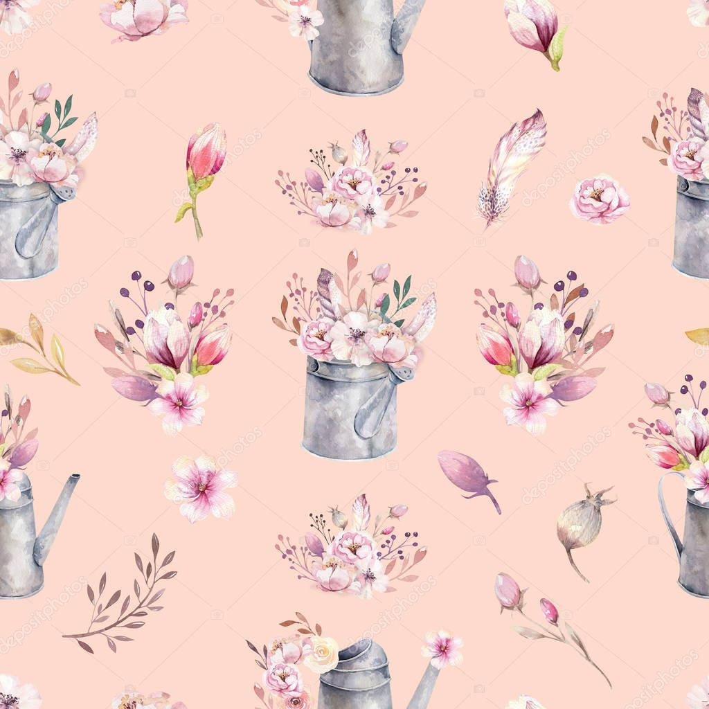 Watercolor vintage seamless pattern gardening tools rusty tin watering can for watering flowers. Hand drawn illustration with flower bouquets