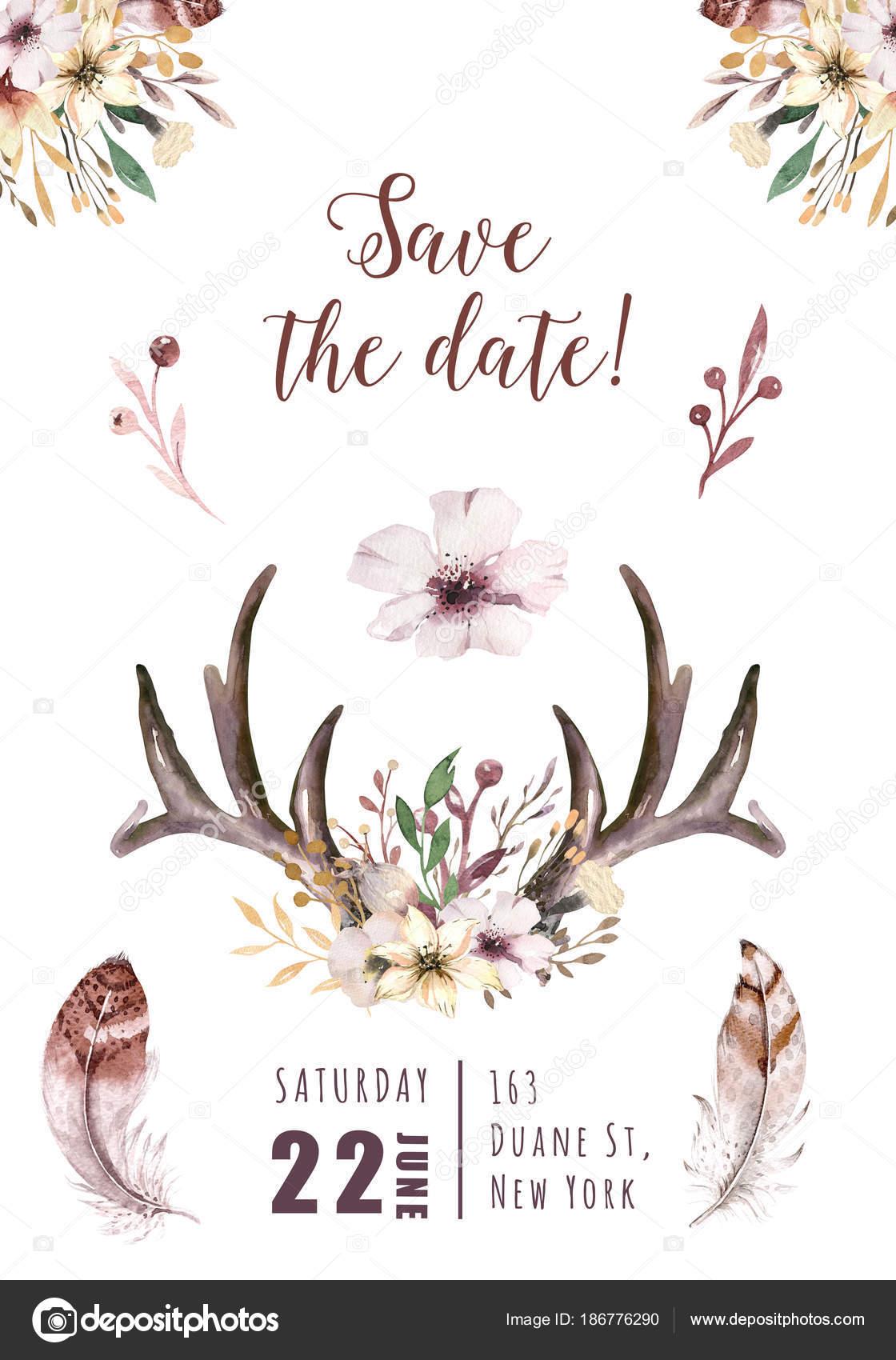 Aquarel bloemen boho gewei afdrukken west boheemse for Wit gewei decoratie