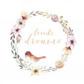 Fotografie Prvky Vintage akvarel věnec z květin, zahradní a divokých květin s ptáků květiny, ilustrace, samostatný, ptáků a peří, bohenian květinové decoratoin design