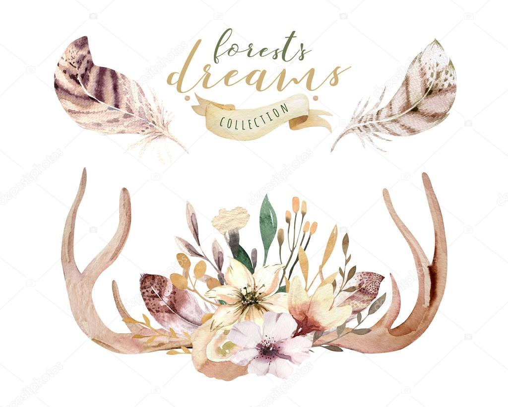 Set of watercolor floral boho antler print. western bohemian decoration. Hand drawn vintage deer horns with flowers, leaves and herbs. Eco style hipster illustration on white.
