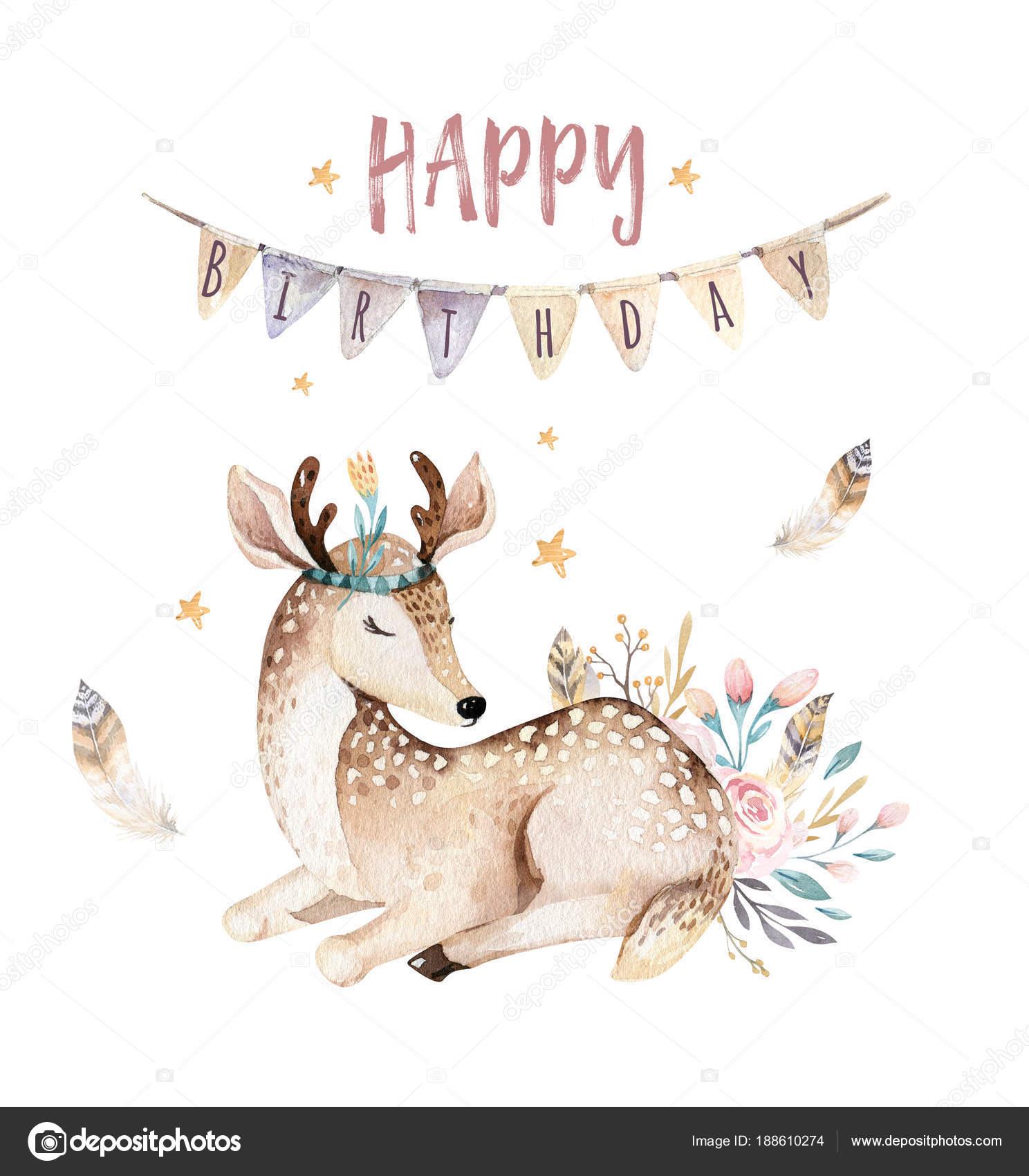 Einladung Geburtstag Party Mit Niedlichen Baby Hirsch Tiere. Aquarell Boho  Wald Cartoon U2014 Foto Von Mykef