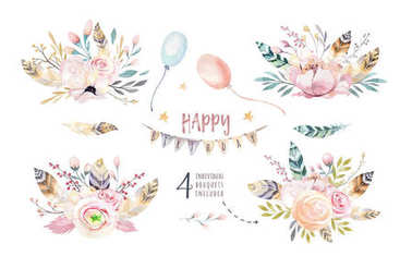 Set of boho vintage bouquet, watercolor elements of flowers, garden and wild flowers, leaves, branches flower, illustration isolated, bird and feathers, bohemian bouquets and arrows