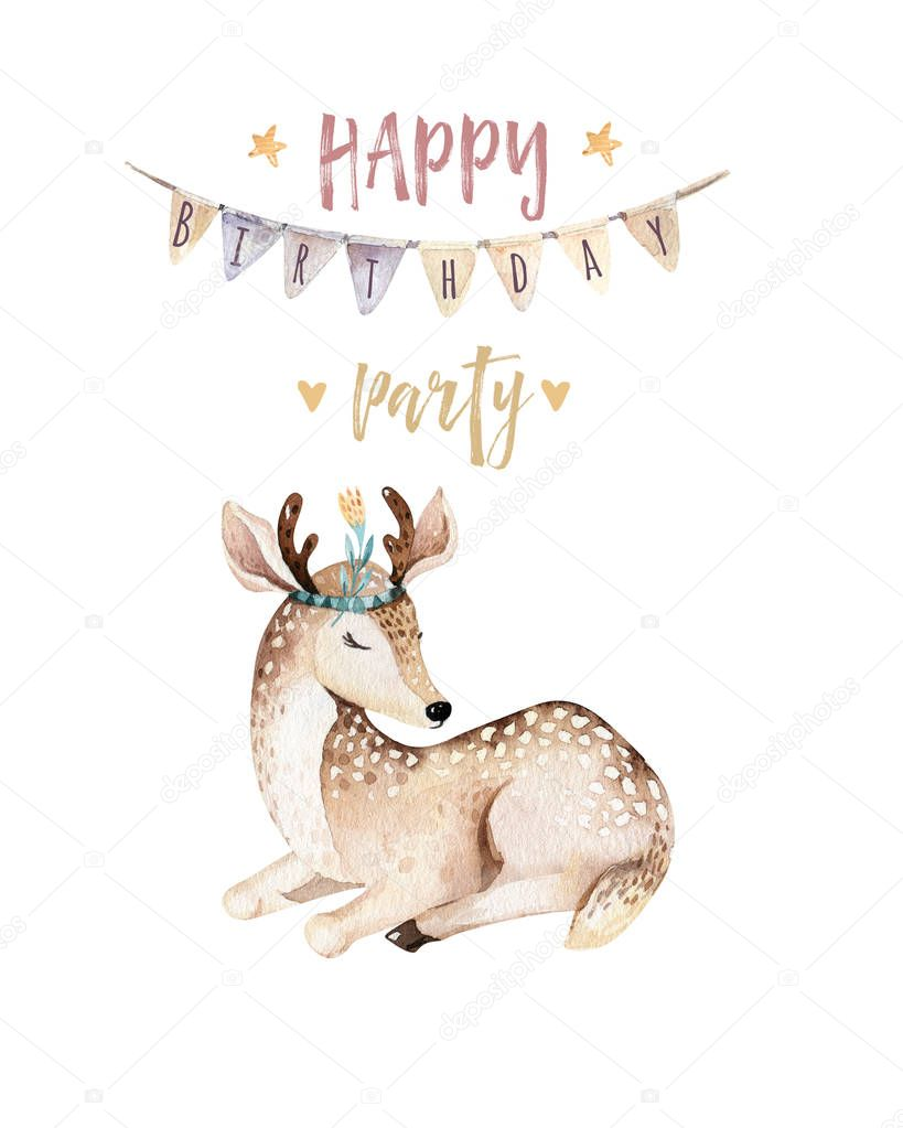 Cute baby giraffe, deer animal nursery mouse and bear isolated illustration for children. Watercolor boho forest cartoon Birthday patry invitation Perfect for nursery posters, patterns
