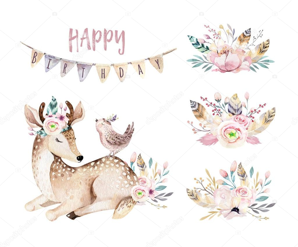 Cute baby deer animal nursery isolated illustration for children. Watercolor boho forest cartoon Birthday patry invitation Perfect for nursery posters, patterns