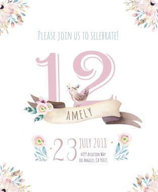 Cute floral watercolor bohemian invitation