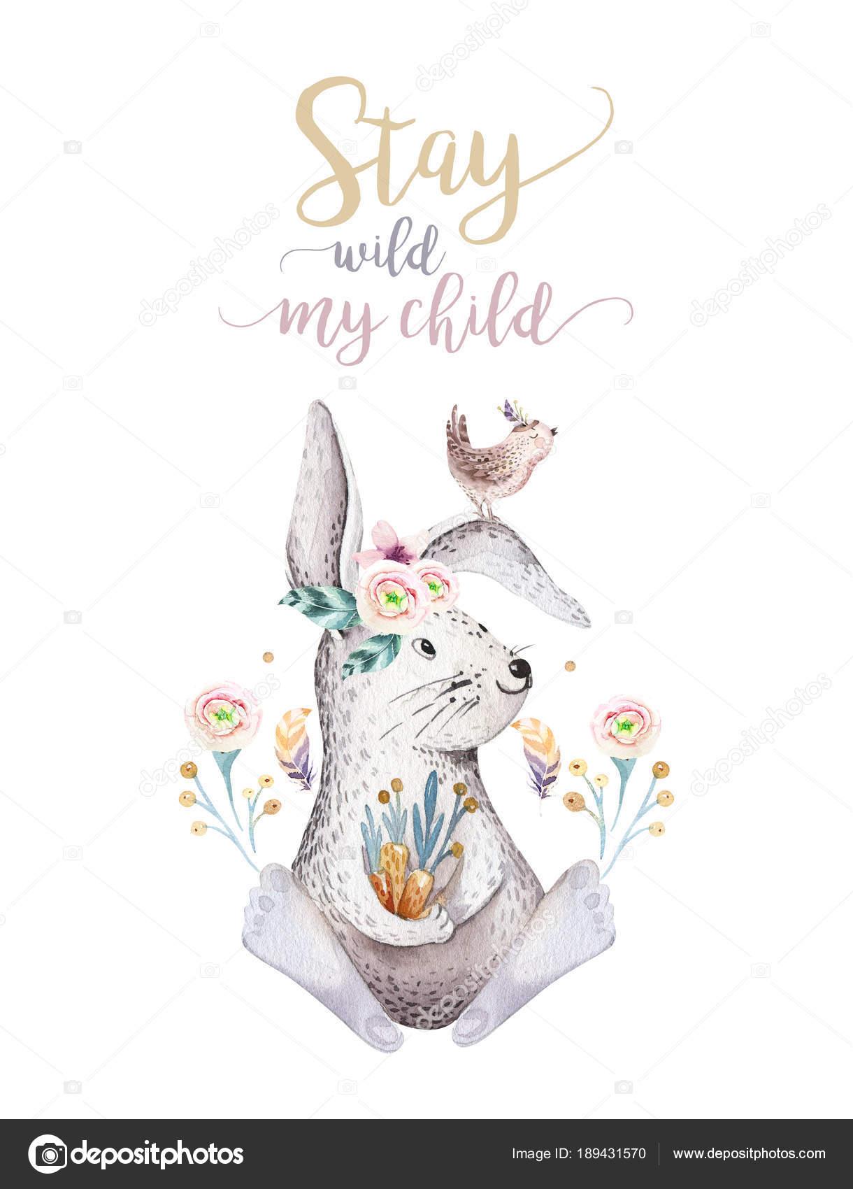 幼稚園のかわいいボヘミアン赤ちゃん漫画ウサギの動物 森林保育園分離