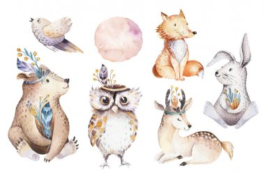 Cute watercolor bohemian forest animals for kindergarten