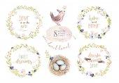 Fotografie Handzeichnung Ostern Aquarell fliegenden Cartoon Vogel und Eiern mit Blättern, Zweigen und Federn. Aquarell Frühling Kunst Illustration im Vintage Boho-Stil. Böhmische Grußkarte