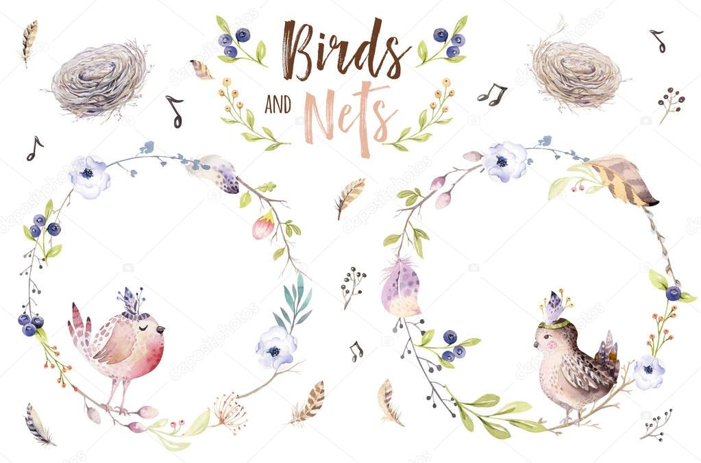 Hand drawing easter watercolor flying cartoon bird and eggs with leaves, branches and feathers. Watercolour spring art illustration in vintage boho style. Greeting bohemian cars.