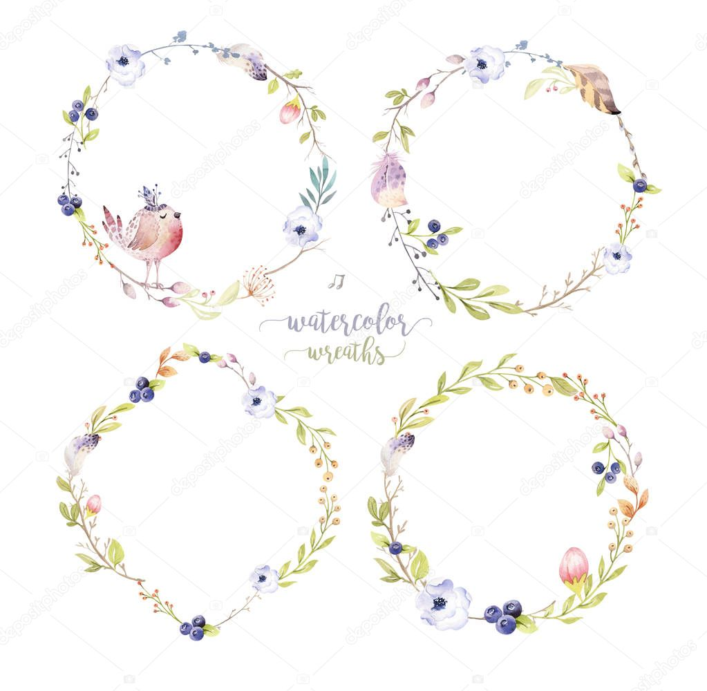 Watercolor boho floral wreath. Bohemian natural frame: leaves, feathers, flowers, Isolated on white background. Artistic decoration illustration. Save the date, logo, weddign design