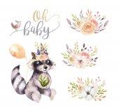 Fotografie cute cartoon watercolor drawing of raccoon, boho illustration, design elements