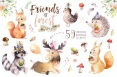Fotografie Cute watercolor bohemian baby cartoon hedgehog, squirrel and moose animal for nursary, woodland isolated forest illustration for children. Bunnies animals.
