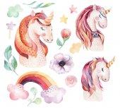 Fotografia Unicorno dellacquerello sveglio isolato clipart con i fiori. Illustrazione di unicorni vivaio. Poster di principessa arcobaleno. Cavallo pony rosa alla moda del fumetto