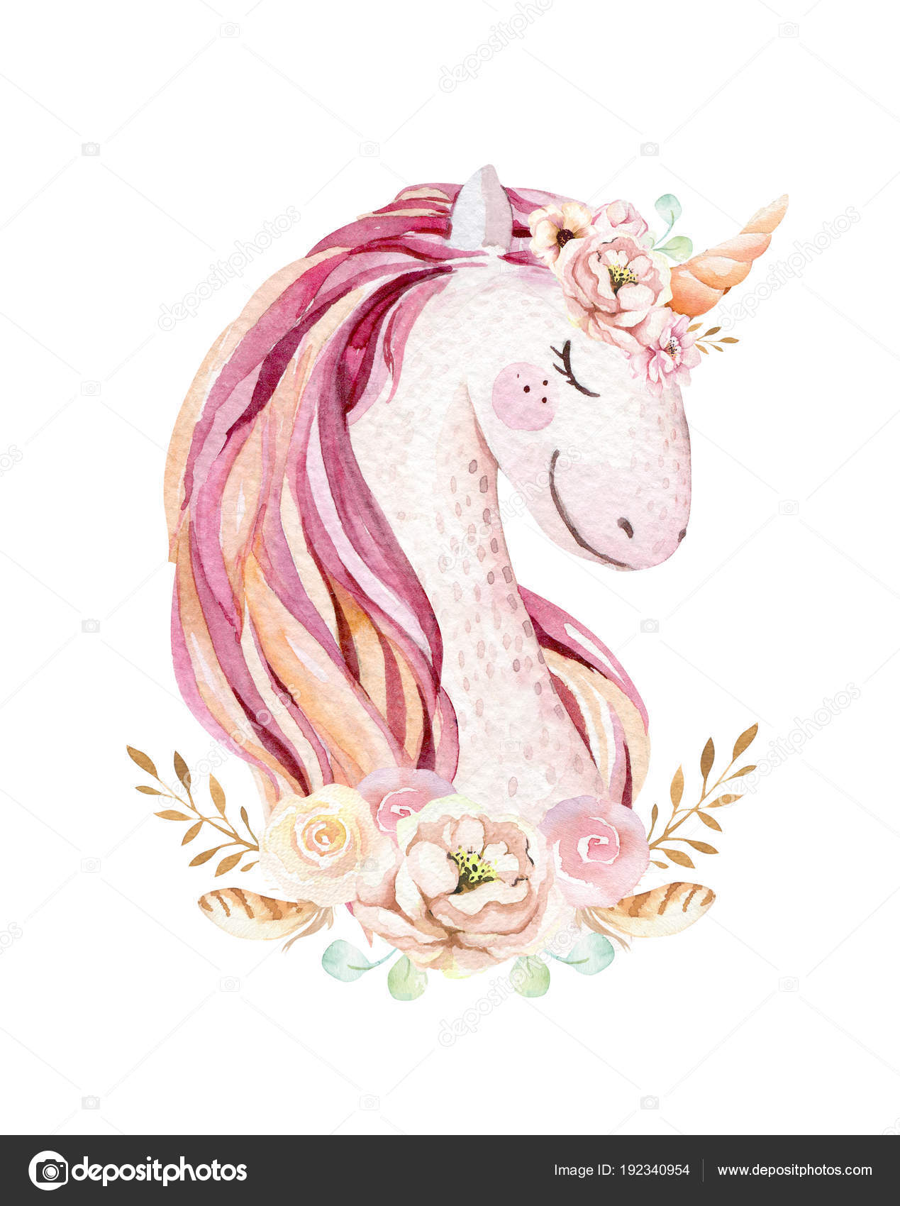 Isolated cute watercolor unicorn clipart with flowers nursery isolated cute watercolor unicorn clipart nursery unicorns illustration princess rainbow poster trendy pink cartoon pony horse photo by mykef mightylinksfo
